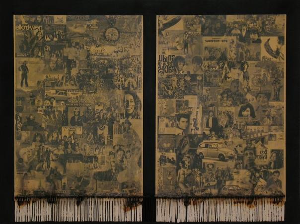 um, um, um (66cmx49,5cm, acrilico, carta, fiammiferi su mdf, 2015)